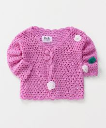 Rich Handknits Full Sleeves Sweater With Flower Motif - Purple