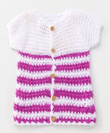 Rich Handknits Full Sleeves Sweater With Broad Stripes - White & lavendar