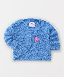 Rich Handknits Full Sleeves Sweater With Flower Motif - Blue