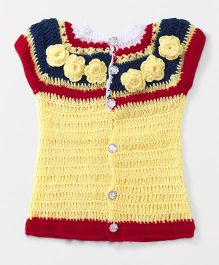 Richhandknits Sleeveless Sweater With Floral Appliques - Yellow