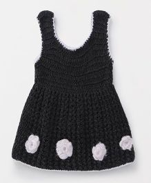 Richhandknits Sleeveless Woollen Dress Floral Motif - Black & White