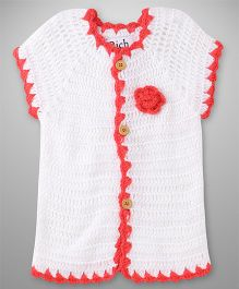 Rich Handknits Half Sleeves Crochet Sweater With Flower Applique - White & Red