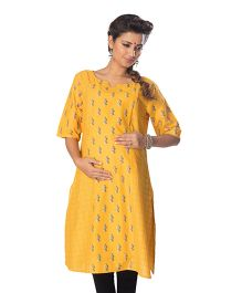 Kriti Three Fourth Sleeves Maternity Nursing Kurti - Yellow