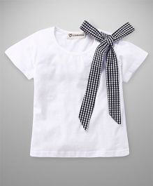 Cubmarks Top With Tie Up Checkered Bow - White