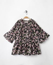 Cubmarks Long Floral Top With Bell Sleeves - Brown