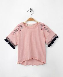 Cubmarks Top With Embroidery - Pink