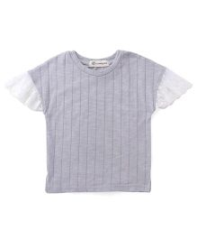 Cubmarks Trendy Top With Net Sleeves - Grey