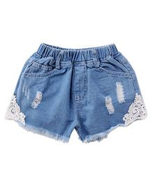 Cubmarks Ripped Denim Shorts With Lace Patch On The Sides - Blue