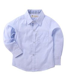 Cubmarks Formal Shirt With Checkered Cuffs And Button Piping - Blue
