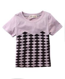 Cubmarks Stylish Checkered Tee - Brown