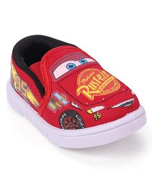 Disney Pixar Cars Barefoot Slip-On Casual Shoes Mc Queen Print - Red
