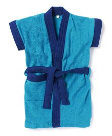 Pebbles Half Sleeves Bathrobe - Blue & Navy