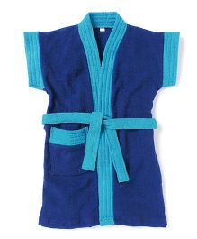 Pebbles Half Sleeves Bathrobe - Navy Blue & Blue