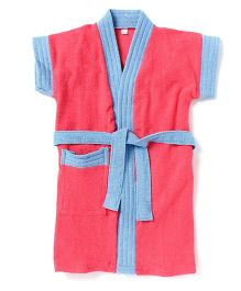 Pebbles Half Sleeves Bathrobe - Peach & Blue