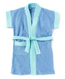 Pebbles Half Sleeves Baby Bathrobe - Blue & Turquoise Blue
