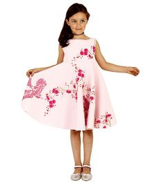 Kidology Sleeveless Party Wear Dress Floral And Bird Embroidery - Pink