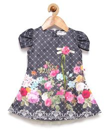 Rose Couture Floral Print Party Dress With Flower Applique & Headband - Grey
