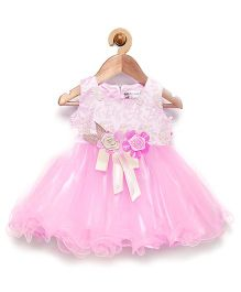 Rose Couture Embroidered Ruffle Dress With Rose Design & Headband - Pink