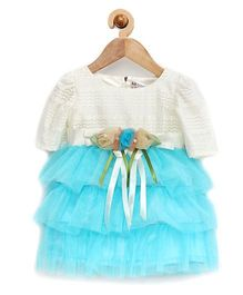Rose Couture 3 Layered Party Dress With Headband - Sea Green