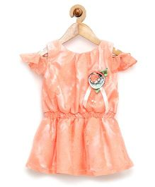 Rose Couture Cold Shoulder Party Dress With Lace Sleeves & Headband - Peach
