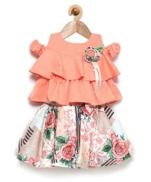 Rose Couture Cold Shoulder Layered Top With Floral Printed Skirt & Headband - Peach