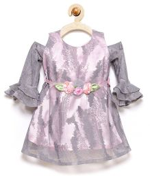 Rose Couture Bell Sleeves Party Dress With Headband - Grey & Pink