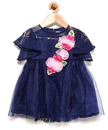 Rose Couture Ruffled Sleeves Lace Design Party Dress With Headband - Navy Blue