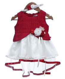 Rose Couture Baby Party Dress With Headband - Red