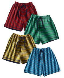 Simply Striped Drawstring Shorts Pack Of 4 - Red Green Yellow Blue