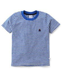 Simply Half Sleeves Striped T-Shirt Teddy Patch - Blue