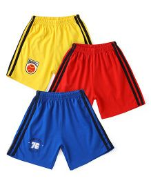 Simply Elasticated Track Shorts Pack Of 3 - Yellow Red Blue