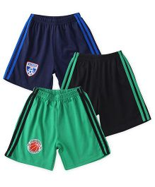Simply Elasticated Track Shorts Pack Of 3 - Navy Black Green