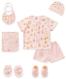 Simply Printed Clothing Gift Set Allover Print Peach - Pack Of 7