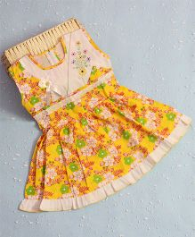 Bunchi Floral Printed Dress With Back Tie Up - Yellow