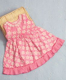 Bunchi Laisy Daisy Cotton Dress With Bow Design - Pink
