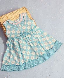 Bunchi Laisy Daisy Cotton Dress With Bow Design - Blue