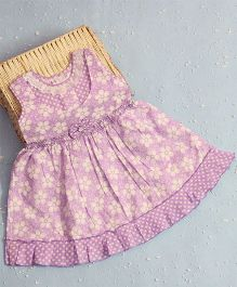 Bunchi Laisy Daisy Cotton Dress With Bow Design - Purple
