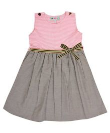 Popsicles Clothing By Neelu Trivedi Stripe Design Dress - Pink & Green