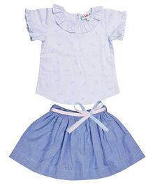 Popsicles Clothing By Neelu Trivedi Ruffled Top & Skirt - Blue