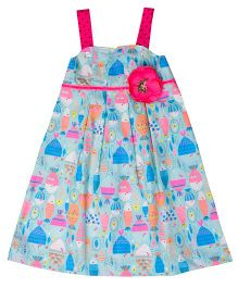 Popsicles Clothing By Neelu Trivedi Detachable Strap Floral Dress - Blue & Pink