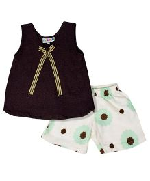 Popsicles Clothing By Neelu Trivedi Sleeveless Top With  Bow & Printed Shorts - Brown & Off White