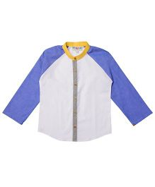 Popsicles Clothing By Neelu Trivedi Full Sleeves Raglan Solid Shirt - White & Blue