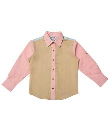Popsicles Clothing By Neelu Trivedi Full Sleeves Solid Shirt - Beige Blue Pink