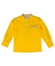 Popsicles Clothing By Neelu Trivedi Full Sleeves Solid Shirt - Yellow