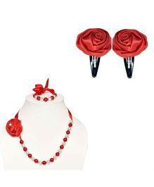 Miss Diva Rose Design Necklace & Tic Tac Set - Red