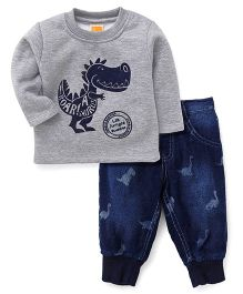 Little Kangaroos Full Sleeves Winter Wear Tee With Pants Dino Print - Grey Blue