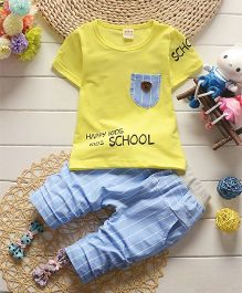 Funtoosh Kidswear Solid Tee With Vertical Stripe Pants - Yellow & Blue