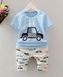 Funtoosh Kidswear Car Printed Round Neck Tee With Pants - Blue
