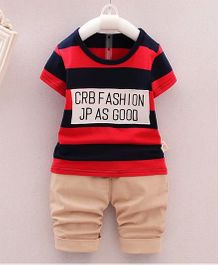 Funtoosh Kidswear Striped Chest Printed Tee With Pants - Red & Black