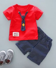 Funtoosh Kidswear Striped Tie Tee With Turnup Shorts - Red & Blue